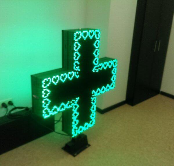 Аптечный крест светодиодный, двух сторонний